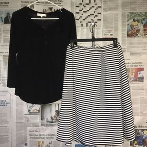 Women's Mid Sleeve Shirt and Striped Skirt